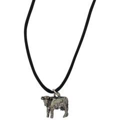 Cow Silver Plated Pewter Charm Necklace-Close