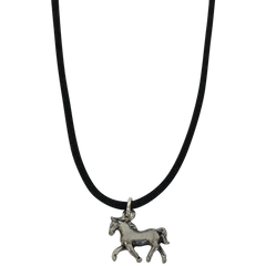 Horse Silver Plated Pewter Charm Necklace-Close