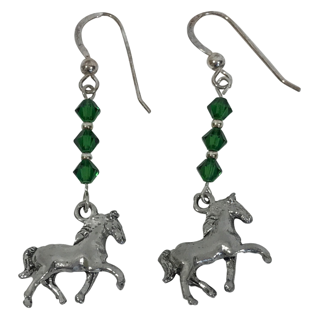 Horse Sterling Silver Green Swarovski Crystal Earrings