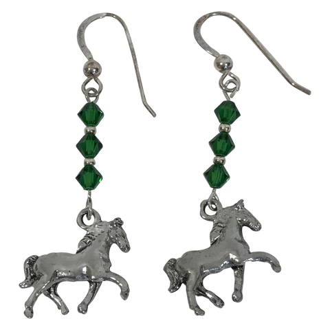 Jewelry-Earrings - Sterling Silver Natural Bead and Swarovski crystal Farm Animal Jewelry