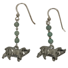 Pig Sterling Silver Dyed Natural Limestone Earrings
