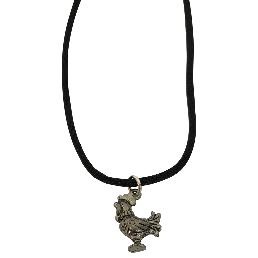 Rooster Silver Plated Pewter Charm Necklace-Close