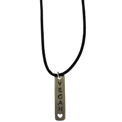 Vegan Silver Plated Pewter Charm Necklace-Close
