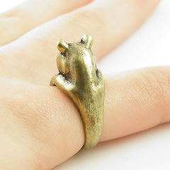 Animal Wrap Ring - Bear - Bronze - Adjustable Ring - keja jewelry - Keja Designs Jewelry