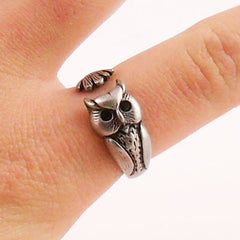 Animal Wrap Ring - Owl - White Bronze - Adjustable Ring - keja jewelry - Keja Designs Jewelry
