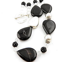Black & White Pure Silver Necklace - Keja Designs Jewelry
