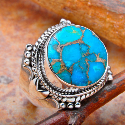 Blue Copper Turquoise Sterling Silver Ring - Keja Designs Jewelry
