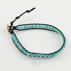 Amazonite Single Wrap Om Bracelet - Keja Designs Jewelry