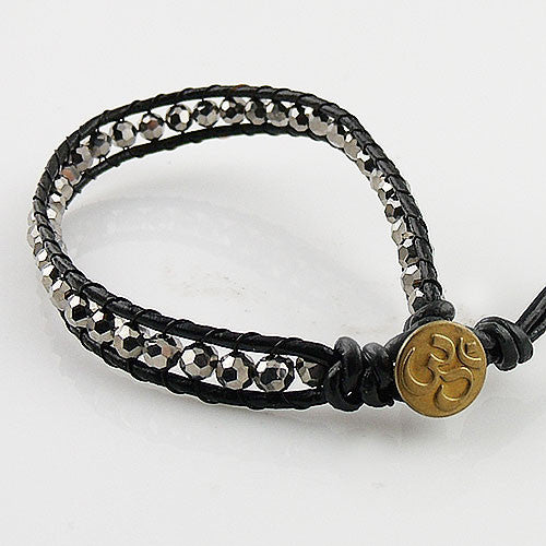 Silver Crystal Single Wrap Om Bracelet - Keja Designs Jewelry
