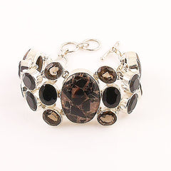 Copper Black Onyx & Smoky Quartz Sterling Silver Bracelet - Keja Designs Jewelry