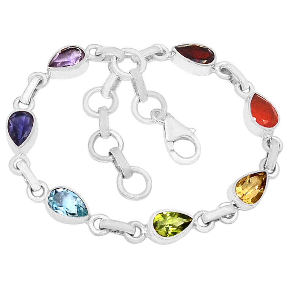 Multi Gemstone Sterling Silver Pear Stones Chakra Bracelet - Keja Designs Jewelry