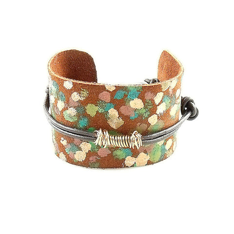 Bronze & Painted Leather Bracelet