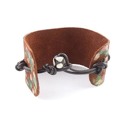 Bronze & Painted Leather Bracelet - Keja Designs Jewelry