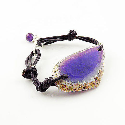 Agate Slice and Purple Leather Bracelet