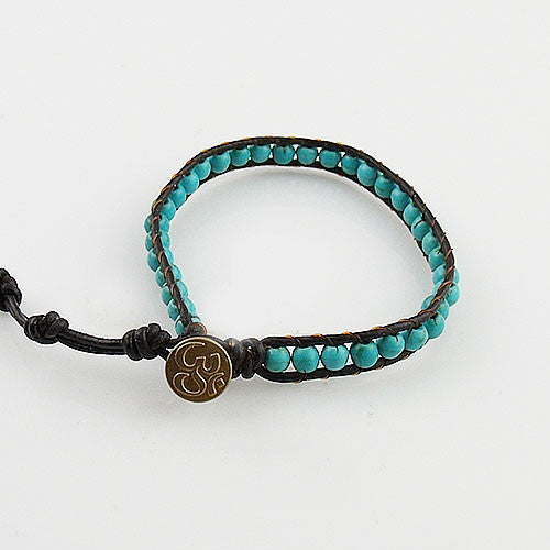 Turquoise OM Single Wrap Bracelet - Keja Designs Jewelry