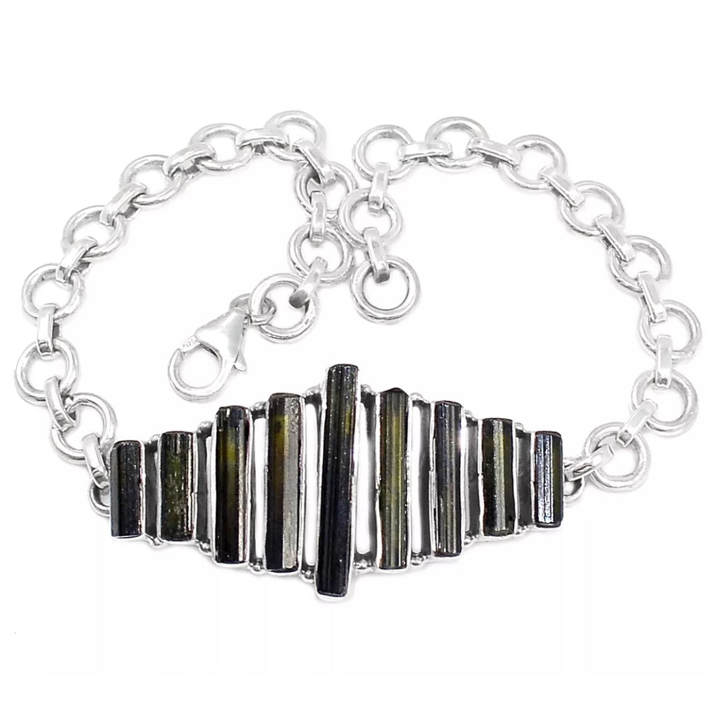 Tourmaline Rough Sterling Silver Bracelet - Keja Designs Jewelry