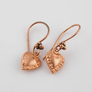 Copper Heart Earrings - Keja Designs Jewelry