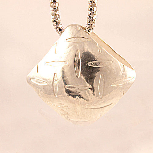 Diamond Plate Pure Silver Pendant - Keja Designs Jewelry
