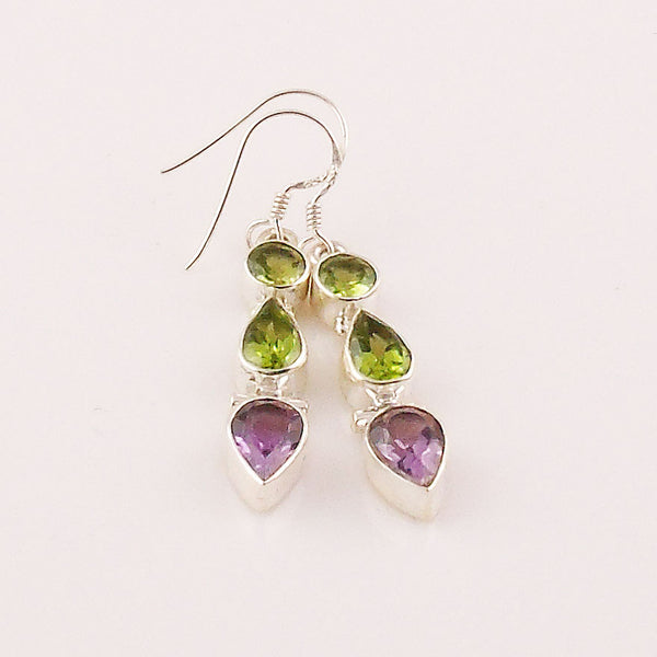 Amethyst & Peridot Sterling Silver Earrings - Keja Designs Jewelry