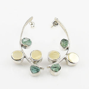 Aquamarine Rough Two Tone Sterling Silver Crescent Earrings - Keja Designs Jewelry
