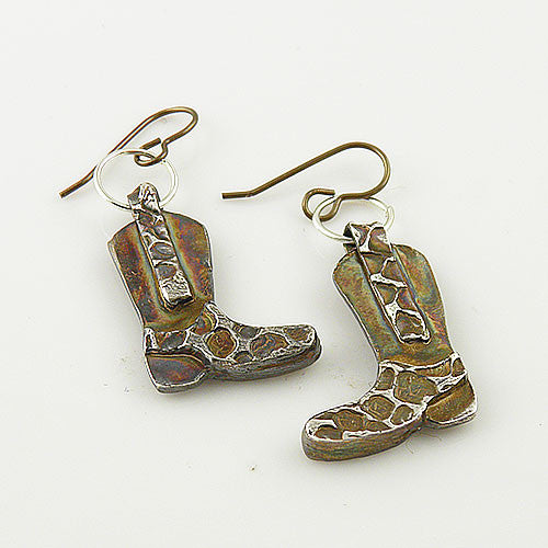 Cowboy Boot Fine Silver Earrings - Keja Designs Jewelry