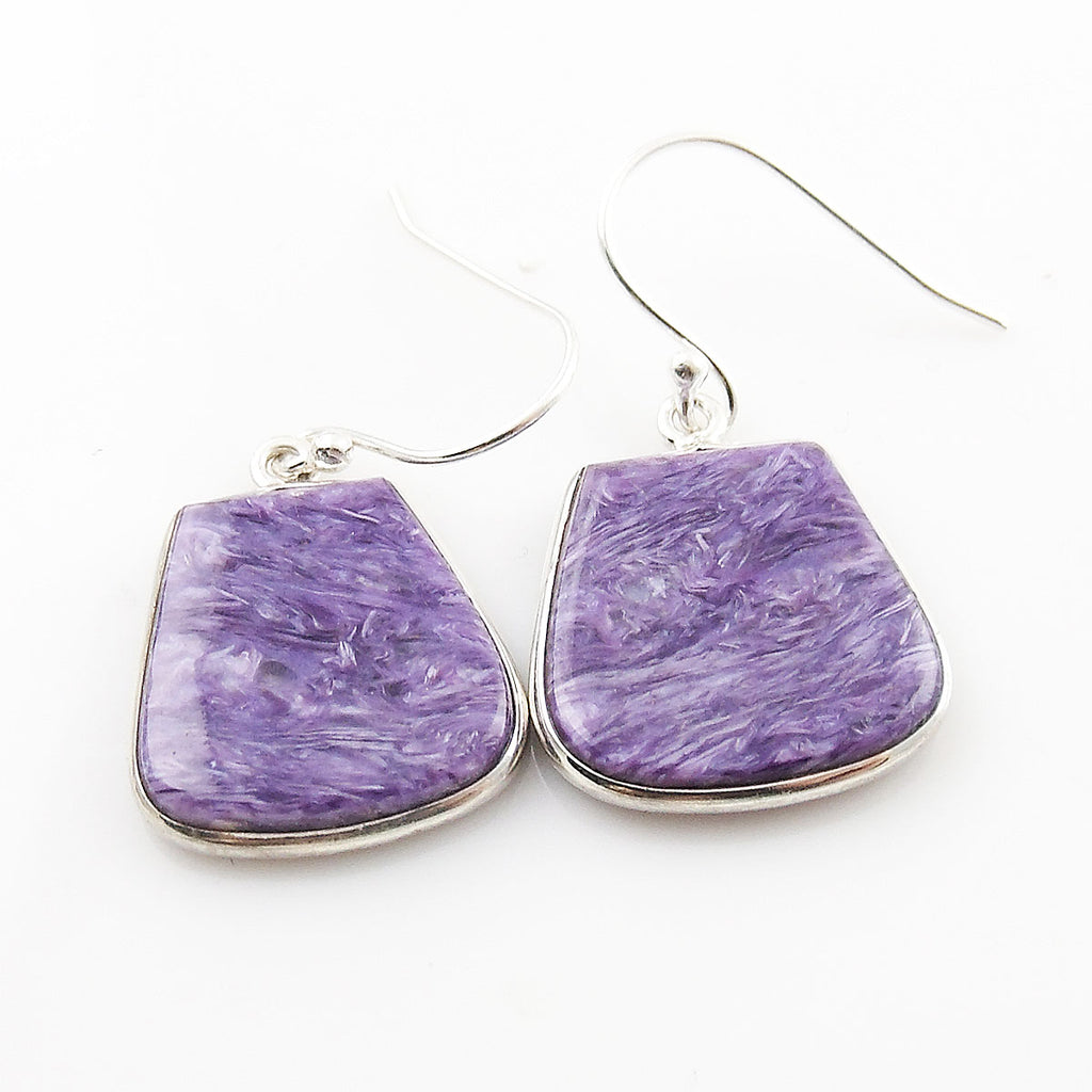 Charoite Sterling Silver Fancy Cut Earrings - Keja Designs Jewelry