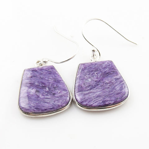 Charoite Sterling Silver Fancy Cut Earrings