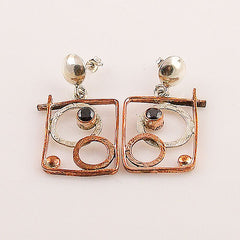 Black Onyx Sterling Silver Two Tone Earrings - Keja Designs Jewelry