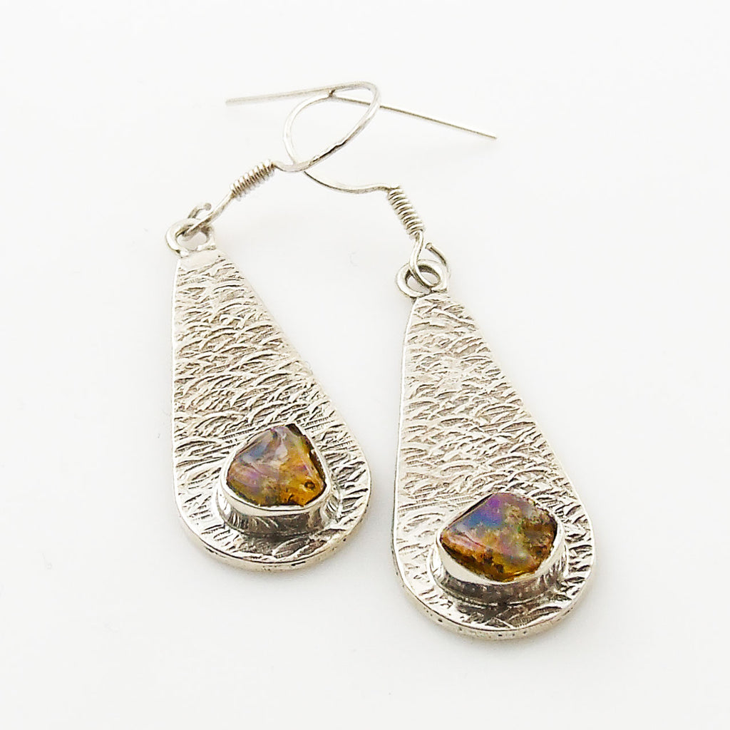 Ethiopian Opal Rough Textured Sterling Silver Earrings - Keja Designs Jewelry