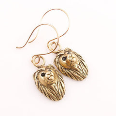 Animal Lion Yellow Bronze Earrings - Keja Designs Jewelry