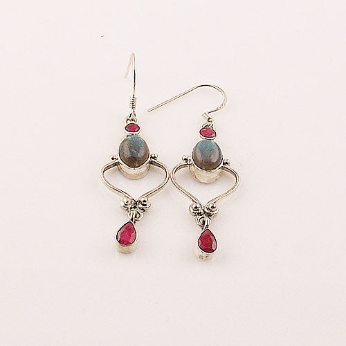 Labradorite & Ruby Sterling Silver Earrings - keja jewelry - Keja Designs Jewelry