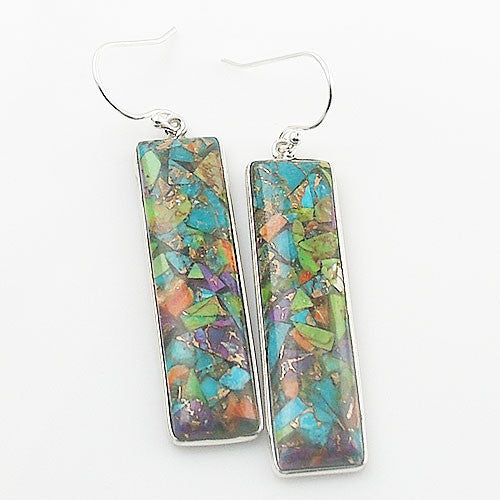 Multi-Turquoise Sterling Silver Oblong Earrings - Keja Designs Jewelry