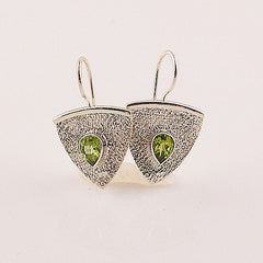 Peridot Sterling Silver Shield Earrings - Keja Designs Jewelry