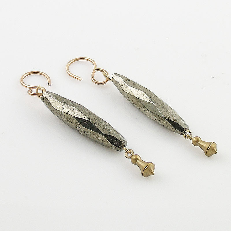 Bronze & Faceted Pyrite Earrings - Keja Designs Jewelry