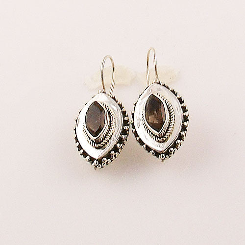 Smoky Quartz Marquee Sterling Silver Earrings - Keja Designs Jewelry