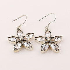 White Topaz Sterling Silver FLoral Earrings - keja jewelry