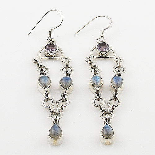 Labradorite & Amethyst Sterling Silver Earrings - Keja Designs Jewelry