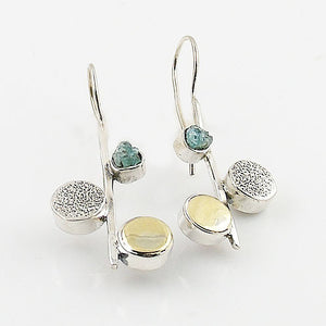 Aquamarine Rough Two Tone Solid Sterling Earrings - Keja Designs Jewelry