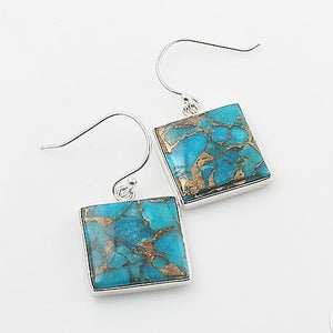 Blue Copper Turquoise Square Sterling Silver Earrings - Keja Designs Jewelry