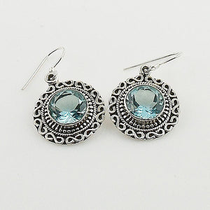 Blue Topaz Sterling Silver Earrings - Keja Designs Jewelry