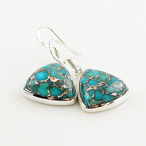 Blue Copper Turquoise Sterling Silver Trillion Design Earrings - keja jewelry - Keja Designs Jewelry