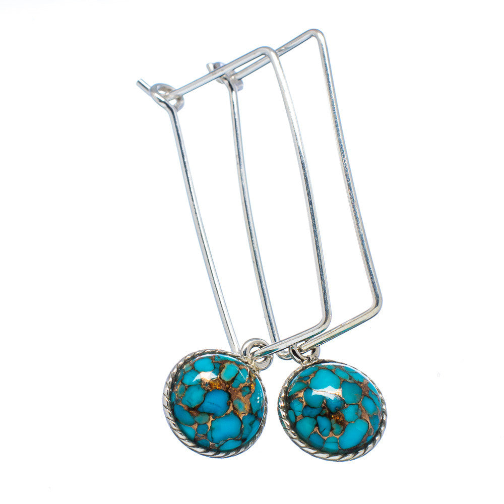 Blue Copper Turquoise Sterling Silver Square Ear Wire Earrings - Keja Designs Jewelry