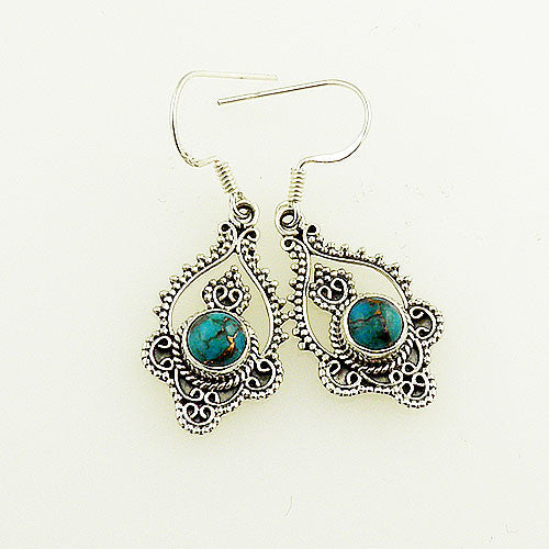 Blue Copper Turquoise Sterling Silver Bali Design Earrings - Keja Designs Jewelry