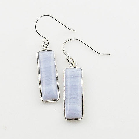 Blue Lace Agate Oblong Sterling Silver Earrings