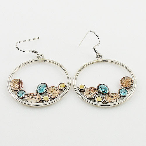 Blue Topaz Sterling Silver Three Tone Earrings - Keja Designs Jewelry