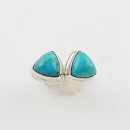 Blue Turquoise Trillion Sterling Silver Earrings - Keja Designs Jewelry