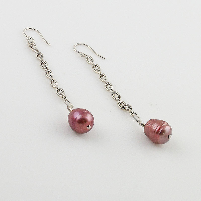 Pearl & Chain Sterling Silver Earrings - Keja Designs Jewelry