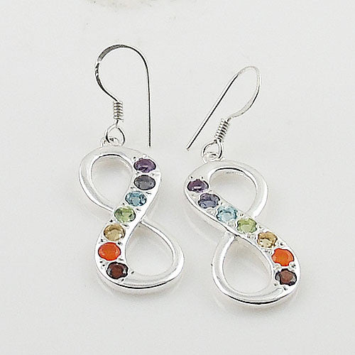 Chakra Infinite Sterling Silver Earrings - Keja Designs Jewelry