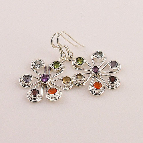 Multi Stone Chakra Sterling Silver Earrings - Keja Designs Jewelry