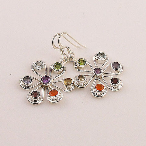 Multi Stone Chakra Sterling Silver Earrings